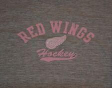 Detroit Red Wings Pink Logo Womens Hockey Gray T Shirt XL NHL Nice Gear