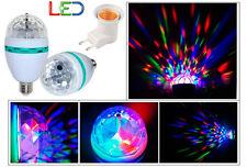 BOMBILLA LED RGB E27 GIRATORIA LUZ DISCOTECA CON CASQUILLO ADAPTADOR RED ENCHUFE