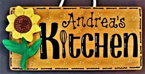 Personalize SUNFLOWER KITCHEN Name SIGN Wall Hanger Hanging Plaque Country Decor