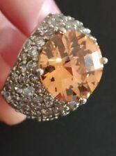 Imposante bague argent massif / citrine 10 carats / zirconium