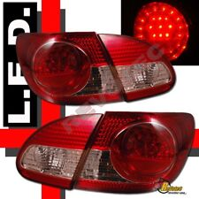 2003-2008 Toyota Corolla Red Clear LED Tail & Trunk Lights Lamps RH & LH