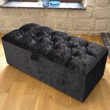 LARGE BLACK CRUSHED VELVET OTTOMAN, TOYS STORAGE, BLANKET BOX, FOOTSTOOL