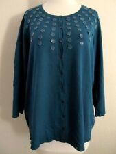 Norstrom Caslon Cardigan Plus 2X Teal Green 3/4 Sleeve Button Up