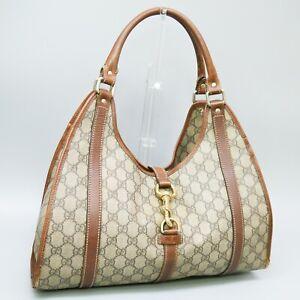 GUCCI Joy Medium Shoulder Bag Purse GG Pattern Coated Canvas Leather Brown