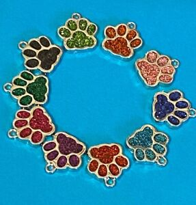 PAW PRINTS Pet Charms Pendants Tibetan Alloy Silver With Glitter OR No Glitter
