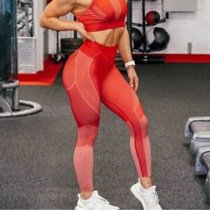 NWT Gymshark Women's size XL Turbo High Waisted Leggings Seamless Red g2
