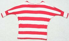 Zenana Outfitters Red White Crewneck Woman's T-Shirt 3/4 Sleeve Women's WS-67