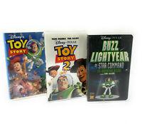 Walt Disney Pixar Lot 3 VHS Videos Toy Story 1 2 Buzz Lightyear Star Command