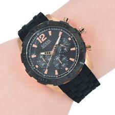 Guess Herren Uhr Chronograph W0864G2 Caliber Schwarz Silikon Armband Armband