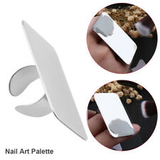 Nail Art Makeup Cosmetic Mix Palette Beauty Finger Ring Stainless Steel Silver