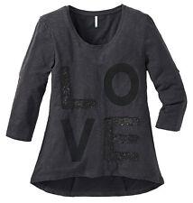 Tunika Gr.48/50 Shirt Longtunika Paillettenshirt grau Top Shir Sheego Babydoll