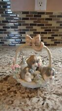 Retired Lladro Litter Of Love Puppies Flowers Porcelain