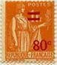 "FRANCE STAMP N° 359 "" TIMBRE PAIX AVEC SURCHARGE ORANGE 80 C S 1 F "" NEUF xxTTB"