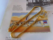 LONG 12CT GOLD PLATED SNAKE LINK POCKET WATCH CHAIN/ALBERT & LARGE BELT CLIP.