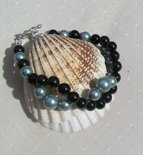 "Black Onyx & Green Shell Pearl Crystal Gemstone Wave Bracelet ""Everglade"""