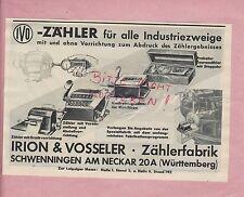 SCHWENNINGEN, Werbung 1939, Irion & Vosseler Zählerfabrik