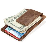 RFID Blocking Men Genuine Leather Magnetic Wallet Credit Card Holder Money Clip
