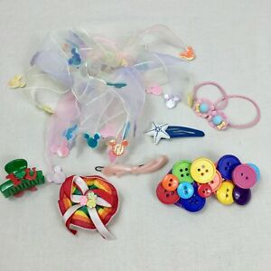 8 Vintage Hair Accessories Clip Bow Tie Scrunchie Barrette Mickey Mouse Rainbow