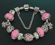 "Pink Ribbon Fight Cancer Awareness European Bead Charm Silver 7.5"" Bracelet 19cm"