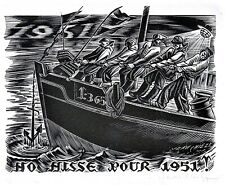 🌓 JEAN CHIEZE (1898-1975) | carte de voeux 1951 | bois gravé signé au crayon