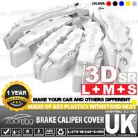 6 Silver 3D Style Brake Caliper Cover Universal Car Disc L+M+S Front Rear Kit UK