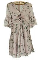 Mimius Dusty Pink & Leaf Print Dress Sz Medium Ruffles Bell Sleeves Lined Laceup