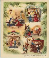 VINTAGE CHRISTMAS VICTORIAN KITCHEN COOK TOY SHOP TREE PIANO TEA POT OLD PRINT