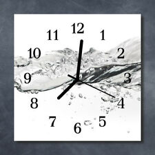 Glass Wall Clock Kitchen Clocks 30x30 cm silent Water Grey