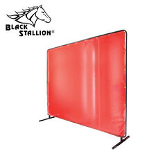 Revco Black Stallion 6u0027 X 8u0027 Orange Welding Curtain/Screen With Frame