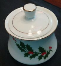 Christmas Sugar Bowl with Holly and Gold Gilding Made in Japan