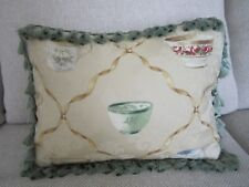 English Cottage Garden Tea Cup Pillow Damask French Country Toile Sage Tassels