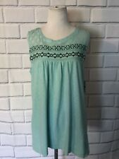 NWT Style & Co. Womens Blue Crochet Embroidered Tank Top Sz PL Petite Shirt $39