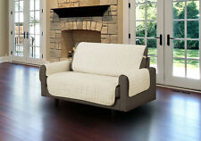 Linen Quilted Microfiber Pet Furniture Protector Cover With Tucks and Straps Beige Loveseat