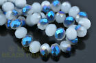50pcs 8X6mm Rondelle Faceted Crystal Glass Beads Jade White Half Blue Colorized