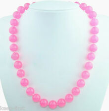 """Fashion 12mm Natural Pink Jade Round Gemstone Beads Necklace 18"""" AAA"""