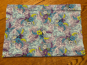 """Vintage Feed Sack Fabric Purple Green Blue tropical print quilt craft  48"""" X 36"""""""
