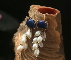 B12 Gold Plated Earrings Blue Lapis Lazuli Stone of The Friendship And Pearls