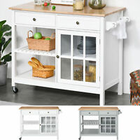 HOMCOM Mobile Kitchen Island Utility Cart with Towel Rack & Drawers