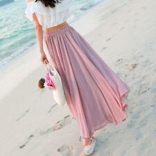 Summer Women Chiffon Long Maxi Skirt High Waist Muslim Pleated Boho Beach Dress