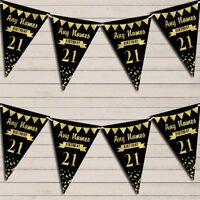 Any Age Birthday 18Th 21st 30th 40th 50th 60th Black & Gold Birthday Bunting