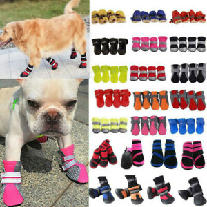 4Pcs Dog Waterproof Paw Protector Boots Cover Shoes Non-slip Socks For Outdoor