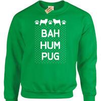 Bah Hum PUG Mens funny xmas sweatshirt gift present christmas jumper novelty