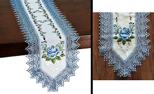 """Embroidered Blue Rose Bloom Elegant Lace Table Runner 71"""" x 15"""""""