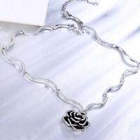 W Swarovski Crystal Flower Black Rose Floral Fuchsia Bridal Pendant Necklace