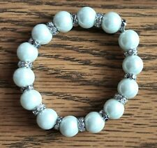 NEW Faux White Pearls and Silver Plated with Cubic Zirconia Stones Bracelet