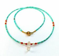 Afghan Natural Turquoise, Coral & Crystal Pendant Tiny Beads Necklace Gemstone
