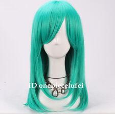 !!!! envío Gratuito!!! Nueva Moda Verde Teal 50cm Mediano Larga Cosplay Peluca + un casquillo de la peluca