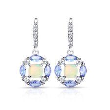 Sterling Silver Ethiopian Opal, Tanzanite & White Topaz Circle Dangle Earrings