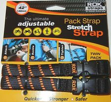 "ROK Straps Motorcycle Luggage Tie Down Adjustable Straps 12""-42"" x 5/8"" BLK/ORG"
