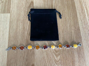 Sterling Silver Amber Bracelet New